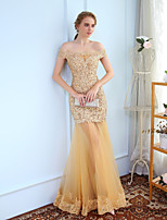 Mermaid / Trumpet Off-the-shoulder Floor Length Lace Tulle Prom Formal Evening Dress with Beading Lace by MMHY
