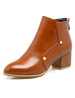 Для женщин Ботинки Гладиаторы Модная обувь Ботильоны Дерматин Осень Зима Повседневные Для праздника Заклепки Молнии На толстом каблуке