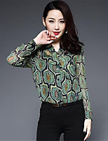 1898 Women's Casual/Daily Simple ShirtSolid Print V Neck Long Sleeves Silk