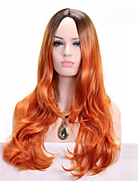 Synthetic Wigs Orange Ombre Dark Root Synthetic Wigs Long Wavy  Heat Resistant Fiber Hairstyle For Female