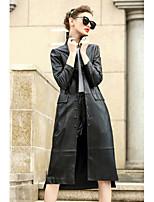 Feminino Casaco Casual Simples Outono,Sólido Padrão Lã Algodão Colarinho de Camisa Manga Longa