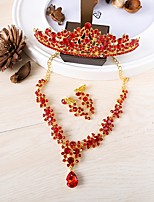Women's Necklace Front Back Earrings Rhinestone Vintage Rhinestone Alloy Crown For Wedding Wedding Gifts