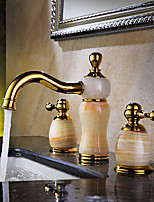 Luxury Classic Widespread High Quality with  Brass Valve Two Handles Three Holes for  Ti-PVD , Bathroom Sink Faucet