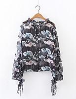 Damen Solide Blumen Einfach Aktiv Ausgehen Lässig/Alltäglich Bluse,Rundhalsausschnitt Sommer Herbst Langarm Seide Baumwolle PolyesterDünn