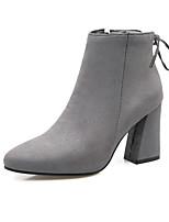 Для женщин Ботинки Удобная обувь Дерматин Осень Зима Повседневные Для праздника Для прогулок Пряжки На толстом каблукеЧерный Серый Желтый
