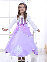Girl's Printed Tie Upholstery Long-Sleeve Sofia Princess Dress