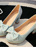 Mujer Zapatos PU Primavera Confort Tacones Para Casual Beige Azul Rosa