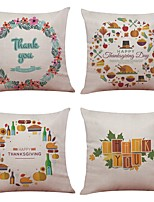 Set of 4 Thanksgiving Day Linen Cushion Cover Home Office Sofa Square Pillow Case Decorative Cushion Covers Pillowcases Without Insert(18*18Inch)