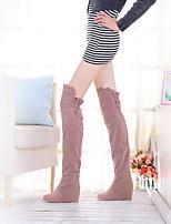 Для женщин Обувь Полиуретан Осень Зима Удобная обувь Ботинки На танкетке Круглый носок С Назначение Повседневные Черный Коричневый Розовый