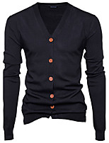 Men's Going out Casual/Daily Simple Regular Cardigan,Solid Deep V Long Sleeves Cotton Spring Fall Medium Stretchy