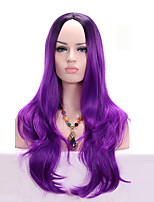 Black Ombre Purple Long Body Wave Synthetic Wigs Heat Resistant Side Parting For Women Wig
