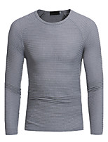 Men's Plus Size Going out Casual/Daily Sexy Vintage Simple Regular Pullover,Solid Round Neck Long Sleeves Rayon Spring Fall Medium