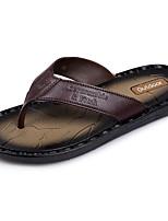 Men's Slippers & Flip-Flops Light Soles Summer PU Water Shoes Casual Flat Heel Light Brown Dark Brown Flat
