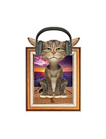 Wall Stickers Wall Decas Style Listen To Music Cat PVC Wall Stickers
