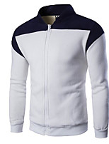 Men's Casual/Daily Sweatshirt Color Block Stand Micro-elastic PU Cotton Long Sleeve Fall Winter