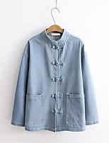 Feminino Jaqueta jeans Para Noite Casual Simples Temática Asiática Primavera Outono,Sólido Padrão Algodão Colarinho Chinês Manga Longa