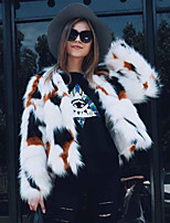 Women's Going out Casual/Daily Work Simple Active Fall Winter Fur Coat Print Round Neck Long Sleeve Regular Faux Fur White S-2XL