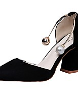 Women's Heels Comfort Summer Cashmere Walking Shoes Casual Beading Chunky Heel Black Khaki 3in-3 3/4in