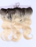 Pelo remy brasileño del pelo del beata ombre 1b / 613 rubio 13 * 4 oído del cierre frontal del cordón al oído del cuerpo del oído pelo