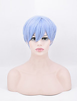 Short Straight Synthetic Hair Wig High Temperature Fiber Colour Sky Blue 8inch For Black Women
