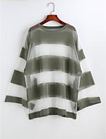 Damen Solide Gestreift Einfach Lässig/Alltäglich Bluse,Rundhalsausschnitt Langarm Polyester