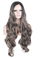Ombre Grey Long Wavy Synthetic Wigs for Black Women Heat Resistant Synthetic Women Wig