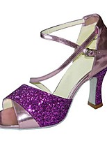 Women's Latin Faux Leather Sandals Performance Buckle Stiletto Heel Green Purple 3