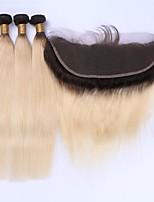 Trame cheveux avec fermeture Cheveux Brésiliens Droit 12 mois 4 Pièces tissages de cheveux kg Mèches Rapides