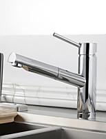 Modern/Comtemporary Pull-out/­Pull-down Deck Mounted Pullout Spray with  Ceramic Valve Chrome , Kitchen faucet