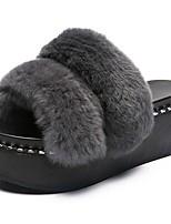 Для женщин Тапочки и Шлепанцы Удобная обувь Осень Кожа / мех Для праздника Микропоры Черный Серый Красный Зеленый 4,5 - 7 см