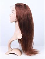 жен. Парики из натуральных волос на кружевной основе Натуральные волосы Лента спереди 130% плотность Прямые Парик Mediumt Browm Короткий