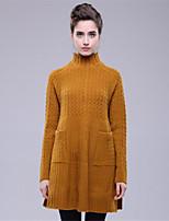Для женщин На каждый день Простое Обычный Пуловер Однотонный,Воротник-стойка Длинный рукав Шерсть Полиэстер Осень Зима Средняя