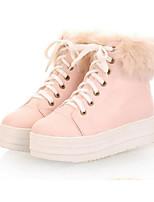 Damen Flache Schuhe Komfort Herbst Winter PU Normal Weiß Beige Leicht Rosa Flach