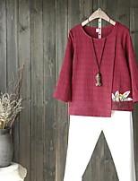 Damen Solide Sexy Einfach Street Schick Ausgehen Lässig/Alltäglich Bluse,Rundhalsausschnitt Sommer Langarm Baumwolle Acryl PolyesterDünn