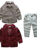 Мальчики Наборы Хлопок Шахматка Однотонный Осень Длинный рукав Набор одежды