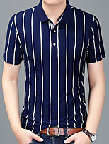 Men's Sports Plus Size Going out Casual/Daily Work Simple Active Summer Fall PoloStriped Shirt Collar Short Sleeves Cotton Acrylic Medium k558