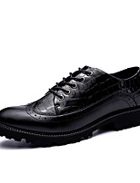 Men's Shoes Leather Fall Winter Comfort Oxfords Lace-up For Casual Party & Evening Office & Career Black Black/Red