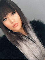 Ombre Grey Color Long Straight Hair European Synthetic Wig  With Full Bangs For Women Wig