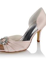 Для женщин Сандалии Удобная обувь Сатин Лето Осень Свадьба Для праздника Для вечеринки / ужина Стразы На шпильке Цвет экрана 7 - 9,5 см