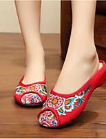 Для женщин Тапочки и Шлепанцы Удобная обувь Лето Ткань Повседневные Черный Красный Зеленый На плоской подошве