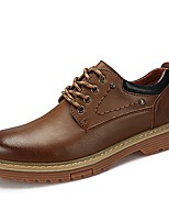 Men's Oxfords Comfort Light Soles Real Leather Oxford PU Cowhide Leather Fall Winter Casual Office & Career Lace-up Flat HeelKhaki Dark