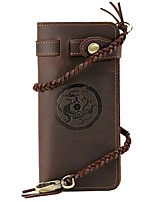 Men Checkbook Wallet Cowhide All Seasons Office/Career Shopping Daily Casual Office & Career Rectangle Braided Strap Snap Dark Brown