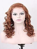 жен. Парики из натуральных волос на кружевной основе Натуральные волосы Лента спереди 130% плотность Волнистые Парик Светло-русый Средний