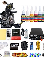 Complete Beginner Tattoo Machine Kit Coils 7 Pigment Ink Set Power Supply TK105-47