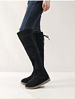 Для женщин Ботинки Зимние сапоги Зима Нубук Повседневные Черный Миндальный Менее 2,5 см