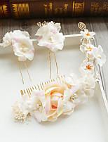 טול שיפון דמוי פנינה תחרה בד רשת כיסוי ראש-חתונה אירוע מיוחד יום הולדת מסיבה\אירוע ערב מסרקי שיער פרחים קליפס לשיער 3 חלקים