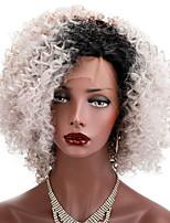 Парики из искусственных волос Лента спереди Короткий Kinky Curly Черный Природные волосы Стрижка боб Парик из натуральных волос