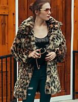 Для женщин На каждый день Осень Зима Пальто с мехом Лацкан с тупым углом,Простой Однотонный Длинная Длинный рукав,Искусственный шёлк