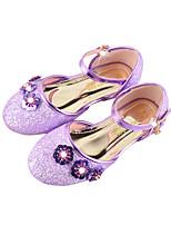 Girls' Flats Comfort Novelty Flower Girl Shoes Fall Winter Leatherette Casual Dress Sparkling Glitter Buckle Flat Heel Gold Purple