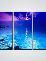 Giclee Print Sunset Puple Sky and the Blue Sea  Picture Printed on Canvas  Ready to Hang 30x60cmx3pcs